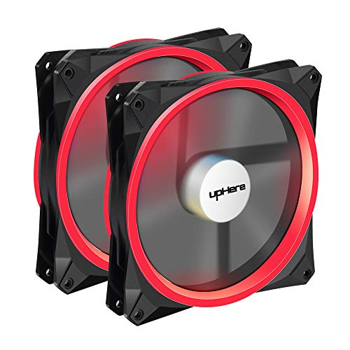 upHere 140mm PWM case fan 2PACK Solar Eclipse Hydraulic Bearing quiet cooling case fan for computer MIRAGE Color LED fan 4 pin with Anti Vibration Rubber Pads(Red) 14CMR4-2 by upHere