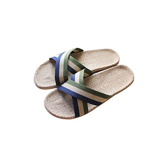 TELLW Summer season couple male ladies light silent indoor floor home stripe linen cool Slippers Green AlrBkGZvX