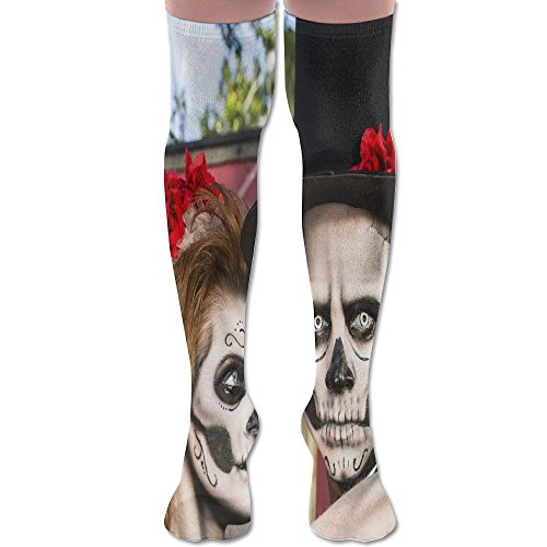 Novelty Halloween Makeup Bride And Groom Stylish Premium Quality Over Knee High Sock Athletic Crew -