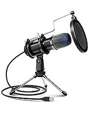 USB-microfoon, computermicrofoon, pc, condensatormicrofoon met schakelaar, DSP-microfoon voor podcast, studio, Skype, YouTube, streaming met standaard en popbescherming, zwart