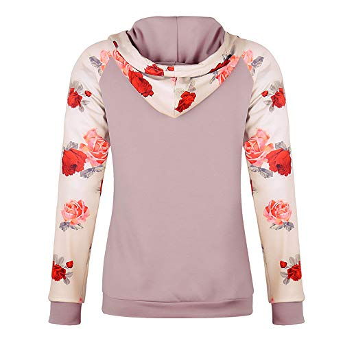 Rambling Women's Casual Long Sleeve Raglan Casual Floral Print Drawstring Pullover Top Blouse with Kangaroo Pocket by Rambling (Image #2)