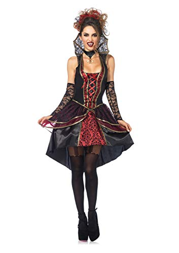 Leg Avenue Women's Vampire Queen, Black/Burgundy,