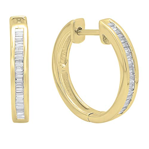 Dazzlingrock Collection 0.30 Carat (ctw) 10K Baguette White Diamond Ladies Huggies Hoop Earrings 1/3 CT, Yellow Gold