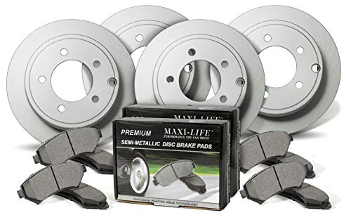 Front and Rear Geomet Coated Rotors and Premium Semi Metallic Pads featuring Tripple Layer Wolverine Shims BK31294CM | Fits: Pilot