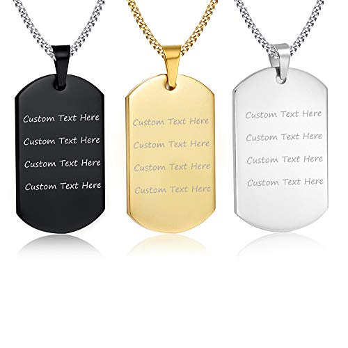 - VNOX 3 Color/Set-Personalized Initial Text Army Stainless Steel Dog Tag Pendant Necklace for Men Boy,24