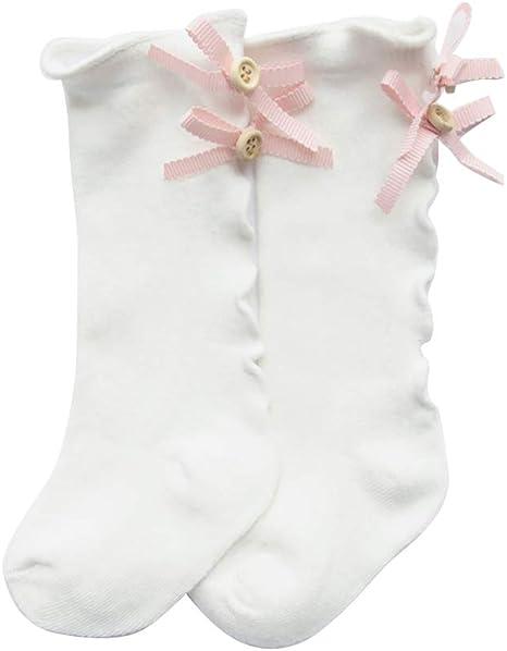 Beautine - Calcetines altos de algodón con lazo, rodilla para niña ...