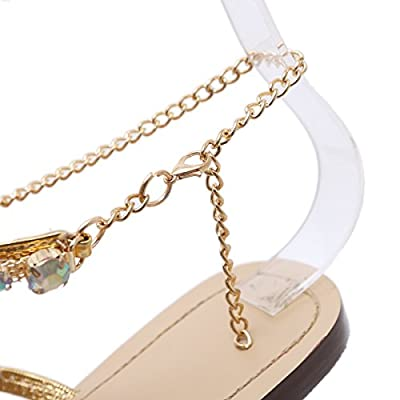 Stupmary Women Flat Sandals Crystal Summer Gladiator Sandals Flip Flops Beach Party Shoes Chains Floral   Flats