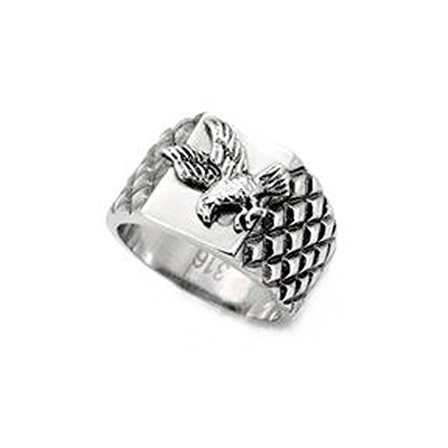 Proud American Eagle Ring - (Silver Color) Veteran Military Jewelry / World War 2, Vietnam, Korean War, Gulf War and Iraq War Rings - U.s. Pride decal w/ USA Bald Eagle emblem. (13) - Vietnam Veteran Rings