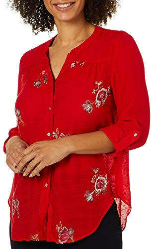 Zac & Rachel Petite Embroidered Floral Roll Tab Top for sale  Delivered anywhere in USA
