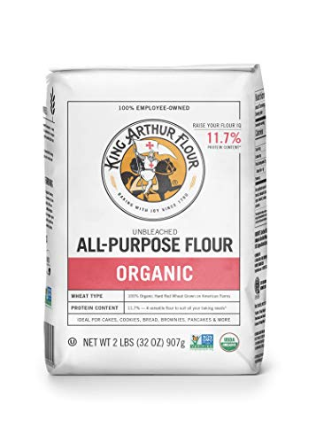 King Arthur Flour 100% Organic All-Purpose Flour, Unbleached, 2 Pound (Pack of 12)