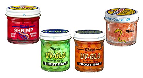 Atlas Mike's Salmon Eggs 4 Pack. UV Glo Orange, UV Glo Chartreuse, Shrimp Egg Red, Nightcrawler Salmon Egg Bait. ()