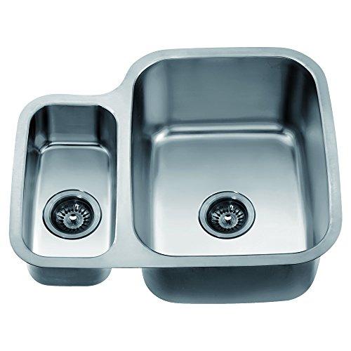Satin Polished Double Bowl - Dawn ASU111L Undermount Double Bowl Sink, Polished Satin