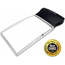 "Fancii LED Light 2X Large Rectangular Handheld Reading Magnifying Glass, 2.3"" X 4"" Rimless Distortion-Free Magnifier Lens"