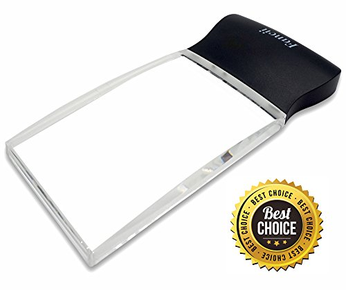 Fancii LED Light 2X Large Rectangular Handheld Reading Magnifying Glass, 2.3 X 4 Rimless Distortion-Free Magnifier Lens