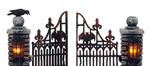 Department 56 Halloween Accessories For Village Collections Miniature Spooky Wrought Iron Gate Lit Figurine 453 Inch Multicolor