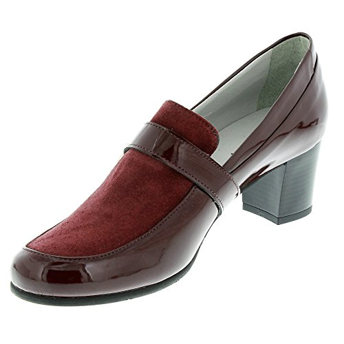 Marc Shoes Damen Leona Dunkelroter Lackleder/Veloursleder Pump