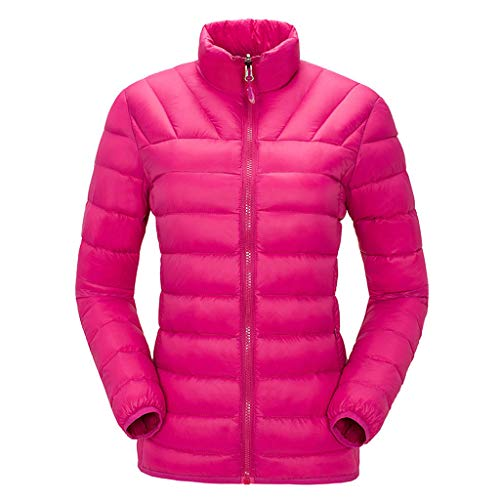 〓COOlCCI〓Women's Down Jackets & Parkas, Packable Ultra Light Weight Short Down Jacket Outerwear Outdoor Recreation Down Hot Pink (Jacket For Women Timberland)
