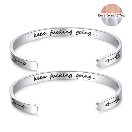 CERSLIMO Bracelets Inspirational Gifts for Women,Stainless Steel Personalized Engraved Mantra Quote Keep Going Bracelets Cuff Bangle Motivational Encouragement Gifts for Men Teens Girls (Silver-2pcs) ()