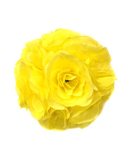 Ben Collection Fabric Artificial Flowers Silk Rose Pomander Wedding Party Home Decoration Kissing Ball Trendy Color Simulation Flower (Yellow, 20cm) ()