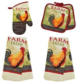 Rooster Pot - HomeConcept Farm Rooster 5 Piece Kitchen Towel Set Includes 2 Towels 2 Potholders 1 Oven Mitt