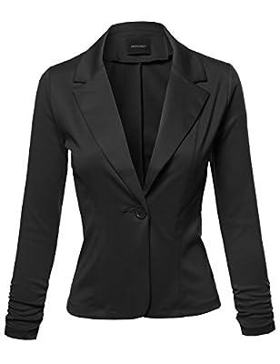 Awesome21 Women's Stretchy Peak Lapel 3/4 Shirring Sleeve One Button Knit Blazer