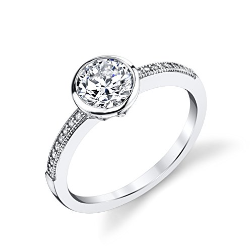 Sterling Tapered Polish Silver High (925 Sterling Silver CZ Wedding Engagement Ring Size 6)