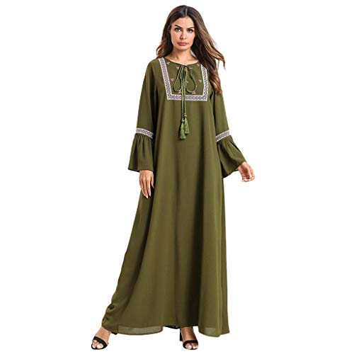 HYIRI Muslim Women's Loose Maxi Dress Embroidery Abaya Jilbab Kaftan Army Green -