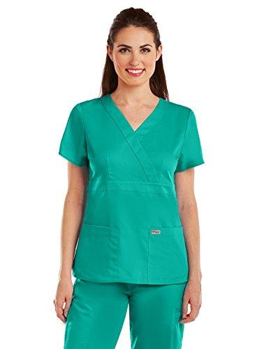 Grey's Anatomy 4153 Women's Mock Wrap Top Tropic Jade (Jade Scrub Top)