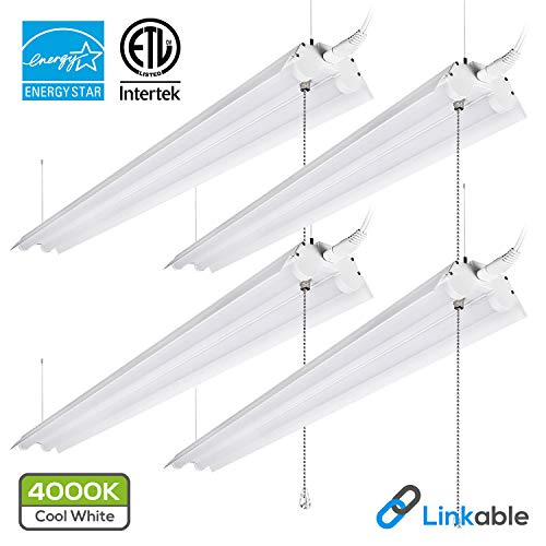 LeonLite 40W 4ft Linkable LED Utility Shop Light, Double-Tube T8 LED, 4000lm 120W Equivalent, ETL & Energy Star Certified Suit for Garage, Workbench, Office, Warehouse, 4000K Cool White, Pack of 4 by LEONLITE