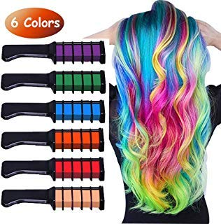 Runlong Hair Chalk Comb 6 Colors, Temporary Hair Color Dye for Teen Girls, Cosplay, Halloween, Ball Party DIY Hair Style Highlight, Easy Dye and Wash Out, Christmas Birthday Gifts For Girls (6 Colors) (Cosplay Ideas For Girls With Brown Hair)