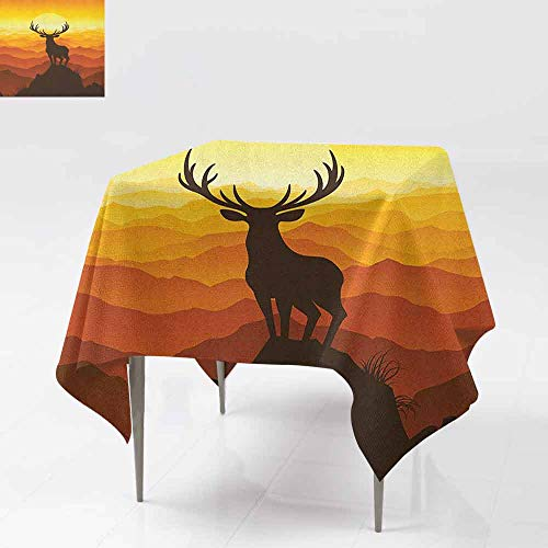 Washable Table Cloth Deer at Sunset Adventure Wildlife Panoramic Valley Hill Silhouette W54 xL54 Burnt Sienna Amber Marigold]()