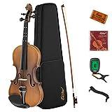 Eastar EVA-3 4/4 Violin Set Full Size Fiddle Matte for Kids Beginners Students with Hard Case, Rosin, Shoulder Rest, Bow, and Extra Strings (Imprinted Finger Guide on Fingerboard)
