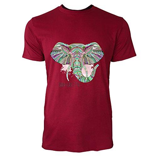 SINUS ART® Bunter Elefantenkopf im Ethno Stil Herren T-Shirts in Independence Rot Fun Shirt mit tollen Aufdruck