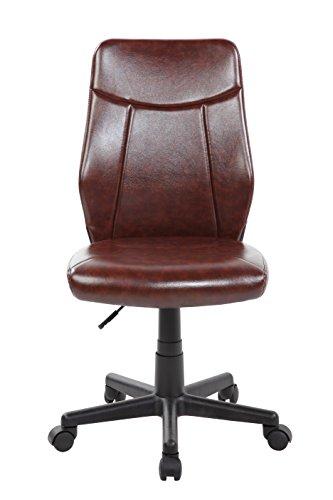 KERLAND Ergonomic PU Leather Mid Back Armless Swivel Computer Desk Office Tas