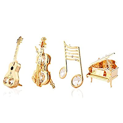 Fathers Day Gift: 24k Gold Plated Musical Ornaments Kit Made with Genuine Matashi Austrian Crystals
