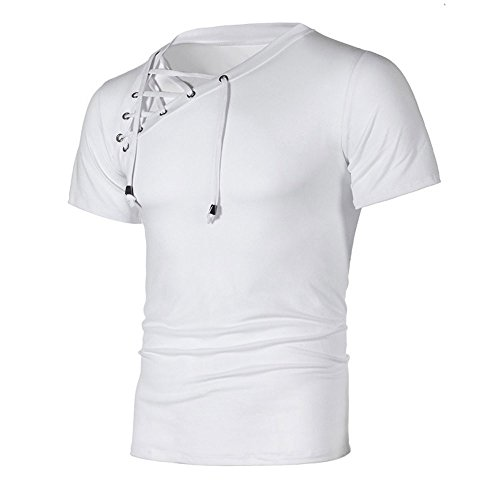 Man Fashion Personality Pullover Shirt,Man Chic Slant Bandage Shirt Men's Casual Slim Short-Sleeved Top Blouse White