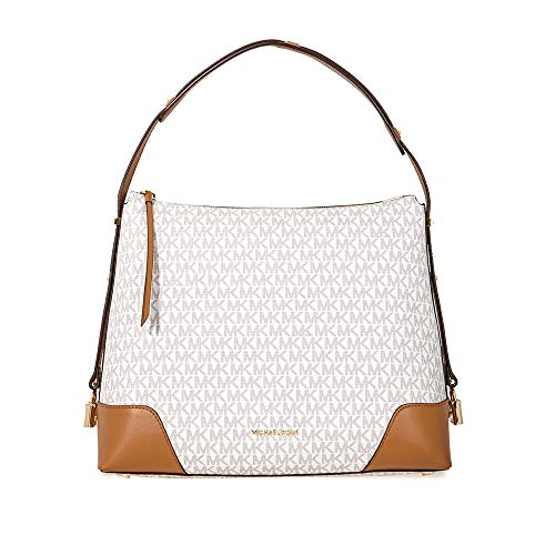 Print Shoulder Bag - Michael Kors Crosby Large Signature Logo Print Shoulder Bag - Vanilla/Acorn