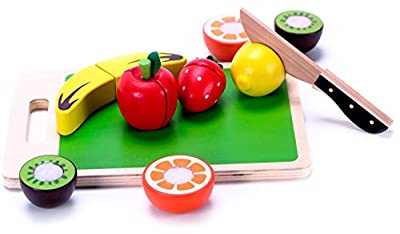 Wooden Fruit Cutting Play Food For Toddlers Set Toy w/ Wood knife & Cutting Board - Durable Easy-Slice Food | Classic Developmental Toy & Kids Play Pretend Kitchen Accessory for Girls & Boys