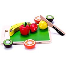 Wooden Fruit Cutting Play Food For Toddlers to Cut & Serve, Wood knife & Cutting Board - Durable Easy-Slice Cutable Velcro Food, Classic Toy & Kids Play Pretend Kitchen Accessories