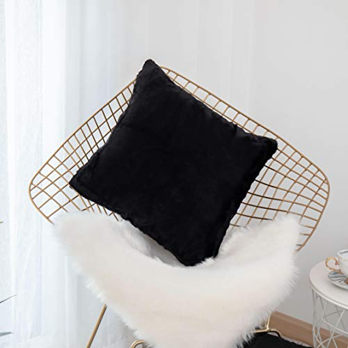 Home Brilliant Fluffy Mongolian Faux Fur Suede Square Throw Pillow Covers Winter Decorative Couch Cushion Cover, Pillow Not Included, 1 Pc, 45cm, Black from Home Brilliant