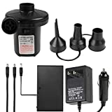 Battery Air Pump, Included Car Dc & 110 V Ac Adapter- Electric Pumps Inflate Deflator, Quick-Fill Mattress for Inflatables Tire Raft Bed Boat Float Pool, Airbed Kids Toy (New Battery)