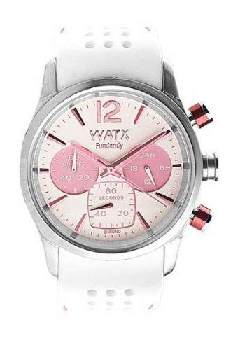 Watx RWA0482 - Reloj para mujer con correa de caucho, color blanco/gris