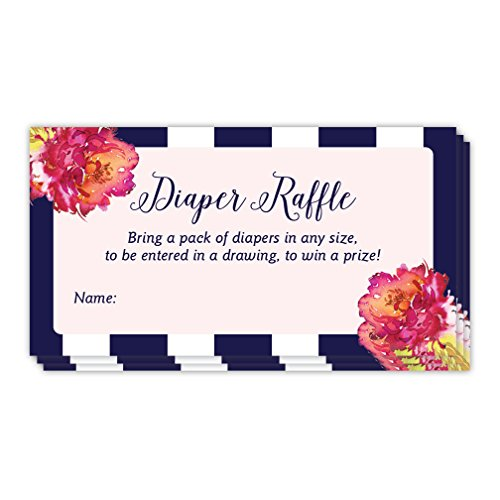(48 Pack Diaper Raffle Ticket Name Tags Girl Baby Shower Invitation Inserts Blank Signature Cards Navy Stripe Pink Fuchsia Floral Party Game Drawing Win Prize Infant Daughter 3.5 x 2 Inches Digibuddha)