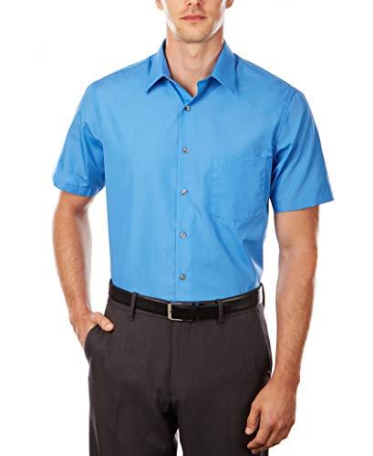 Van Heusen Men's Short Sleeve Dress Shirt Regular Fit Poplin Solid 2