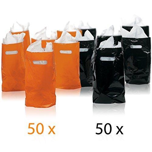 Prextex-100-Ct-Orange-and-Black-Halloween-Goody-Bags-50-Black-and-50-Orange-Halloween-party-favor-bags