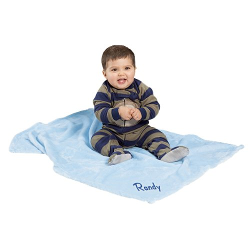 Kemon Embroidered Boy Name Personalized Microfleece Satin Trim Blue Baby Blanket