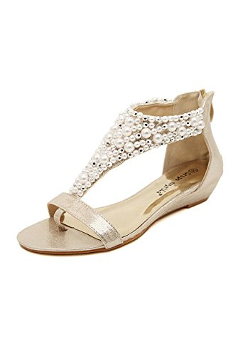 Women s Pearl Bead Embellished Metallic Sandals Gold Faux Leather   Amazon.co.uk  Shoes   Bags