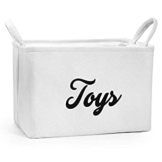 GIRVEM Toy Storage Basket, Canvas Organizer Box for Baby, Kids or Pets - Collapsible Storage Bins with Handles
