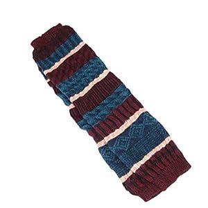 DEESEE® Leg Cuffs Boot Sock Womens Leg Warmers Striped Patchwork Leggings Socks (Red)