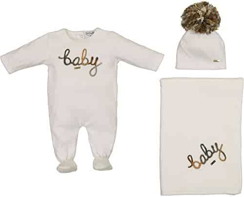 4bcad86489 Cream Bebe Newborn Baby Gift Set Take Me Home Soft Footie Blanket and Hat
